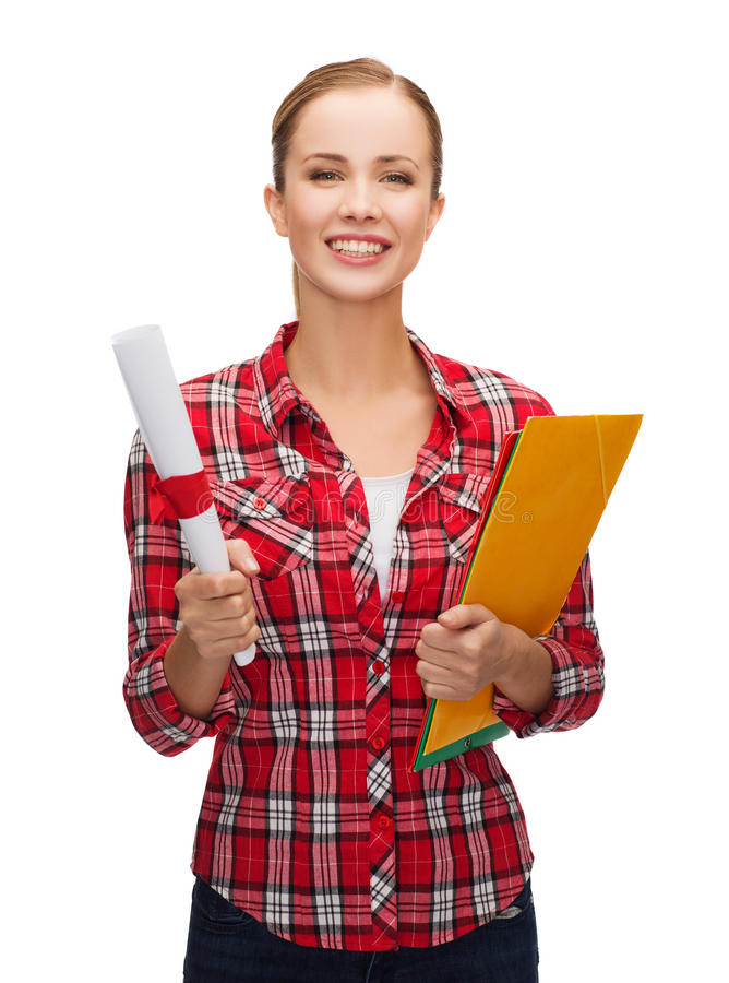 Smiling woman with diploma and folders. University and education concept - smiling woman with diploma and folders stock photo