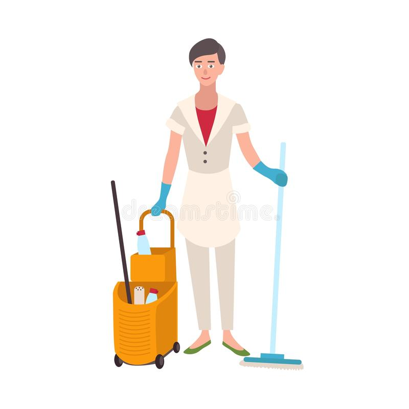 Smiling woman dressed in uniform holding floor mop and bucket cart. Female home cleaner, cleaning or housekeeping stock illustration