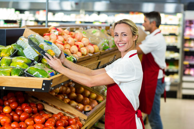 Smiling woman filling vegetables boxes stock image