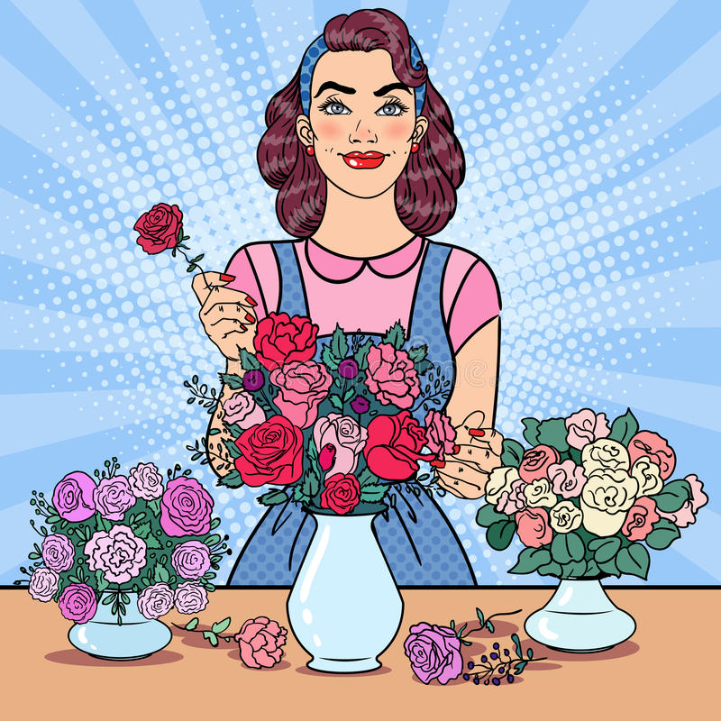 Smiling Woman Florist Making Bunch of Flowers. Pop Art illustration. Smiling Woman Florist Making Bunch of Flowers. Pop Art vector illustration stock illustration