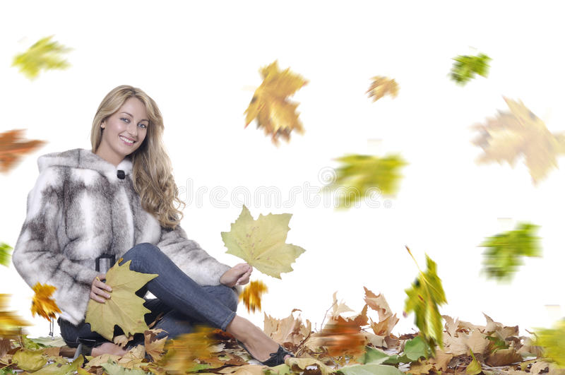 Download Smiling woman with fur stock photo. Image of young, blond - 11037228