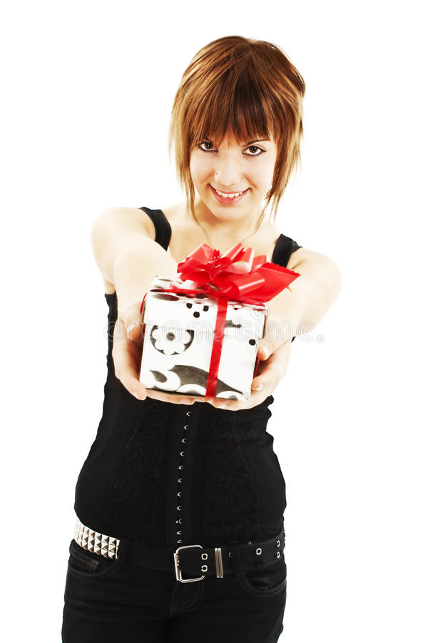 Download Smiling Woman With A Gift Box Stock Photo - Image: 22129548