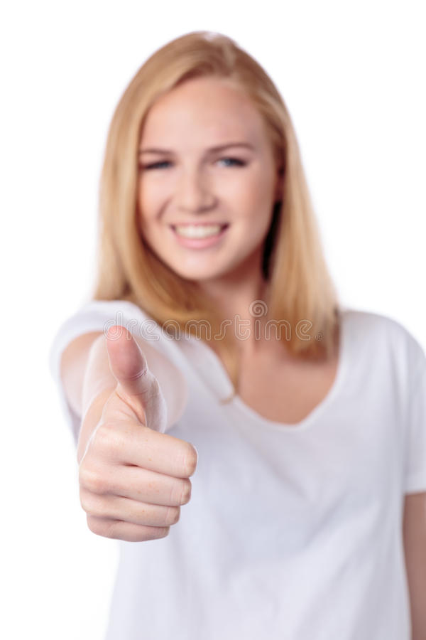 Download Smiling Woman Giving A Thumbs Up Gesture Stock Image - Image: 33226781