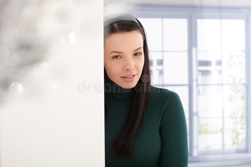 Download Smiling Woman In Green Pullover Stock Image - Image: 29023451