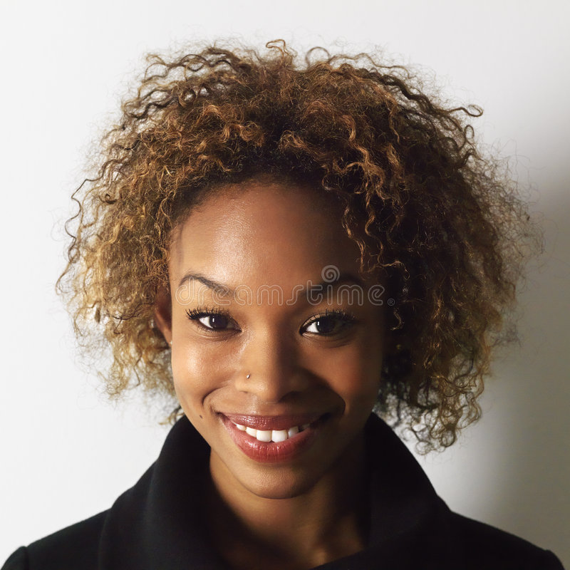 Smiling woman headshot stock images