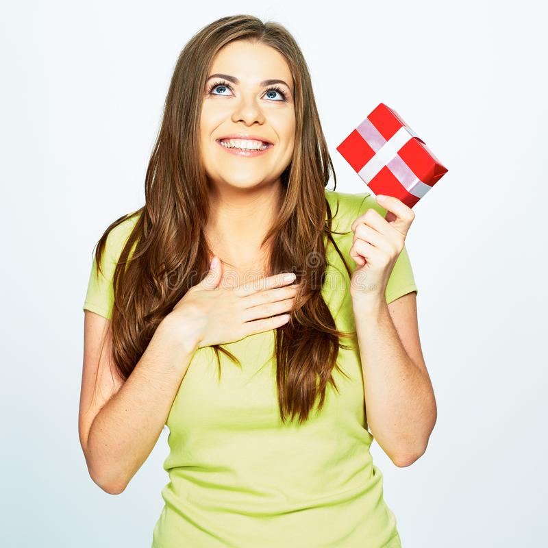 Smiling woman hold gift . stock images
