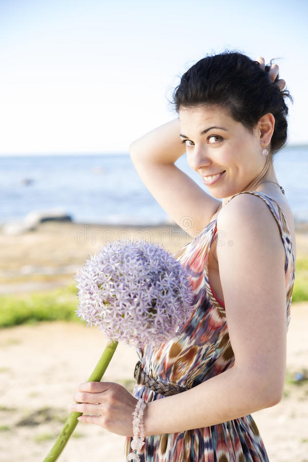 Download Smiling Woman Hold Hairs Preventing To Fall Stock Image - Image of look, friend: 32602083