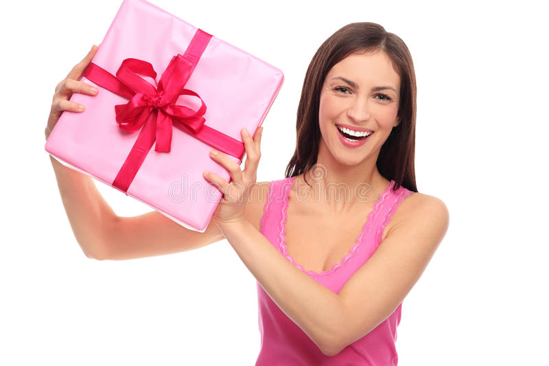 Download Smiling woman holding gift stock image. Image of beautiful - 28549723