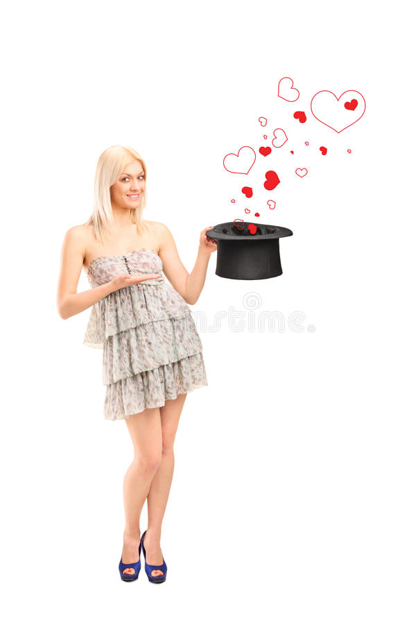 Download Smiling Woman Holding A Hat And Hearts Coming Out Stock Illustration - Illustration: 24443148