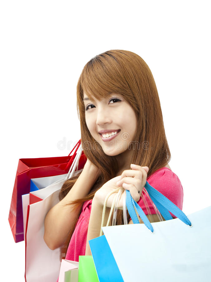 Download Smiling Woman Holding Shopping Bag Stock Photo - Image: 24033512