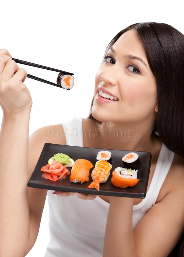 Download Smiling Woman Holding Sushi Roll Stock Image - Image of arms, girl: 25010033
