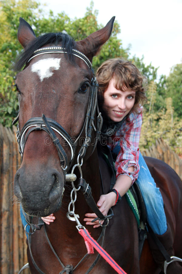 Smiling Woman On The Horse Stock Photography