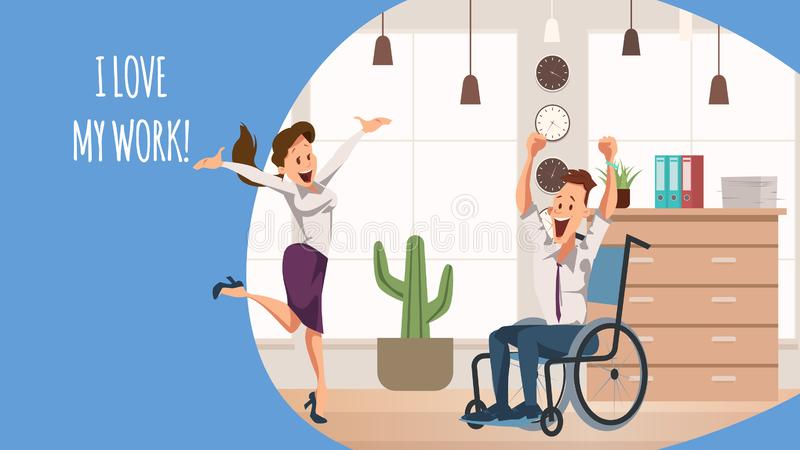 Smiling Woman Jump. Disabled Office Worker Joy stock illustration