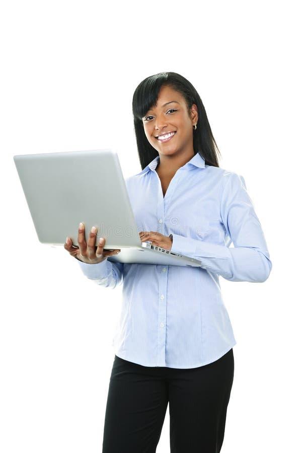 Smiling Woman With Laptop Computer Stock Photos