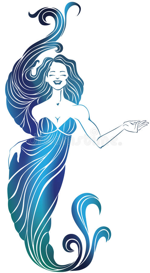 Smiling woman in long flowing evening dress. vector illustration