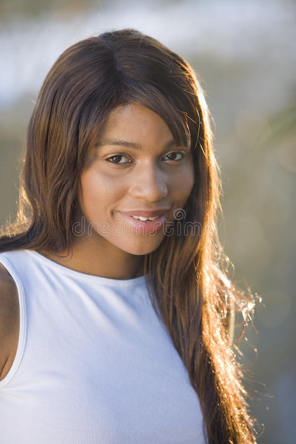 Smiling woman with long hair.  stock images