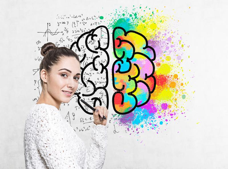 Smiling woman with marker, brain sketch stock illustration