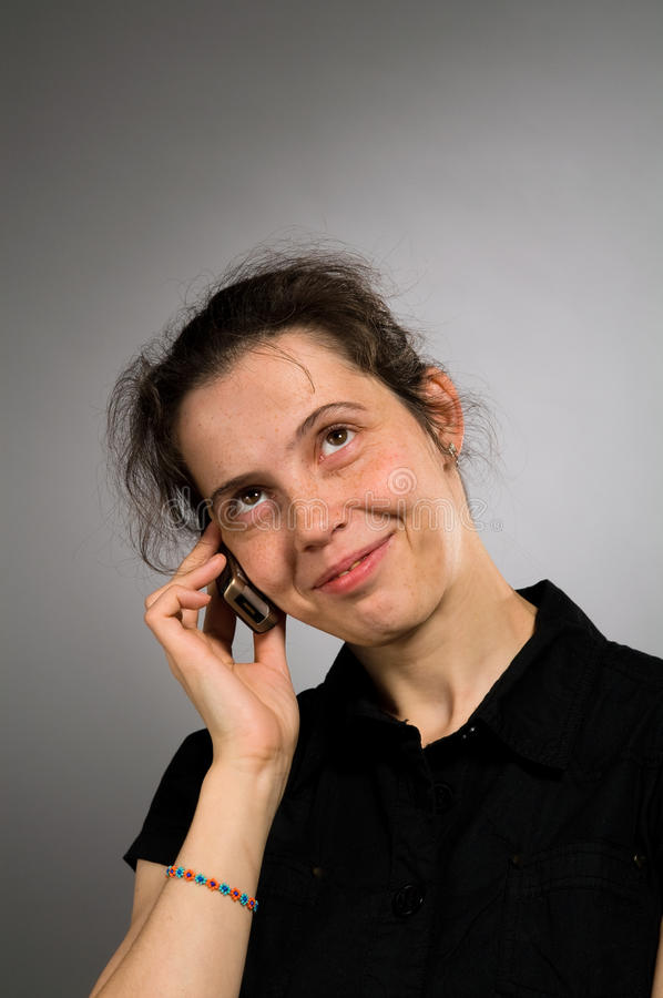 Smiling Woman With Mobile Stock Photo