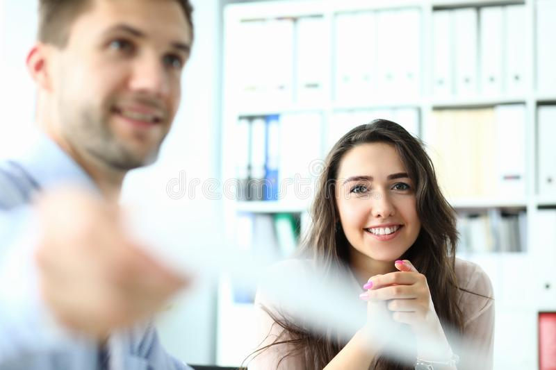 Smiling woman in modern office stock image
