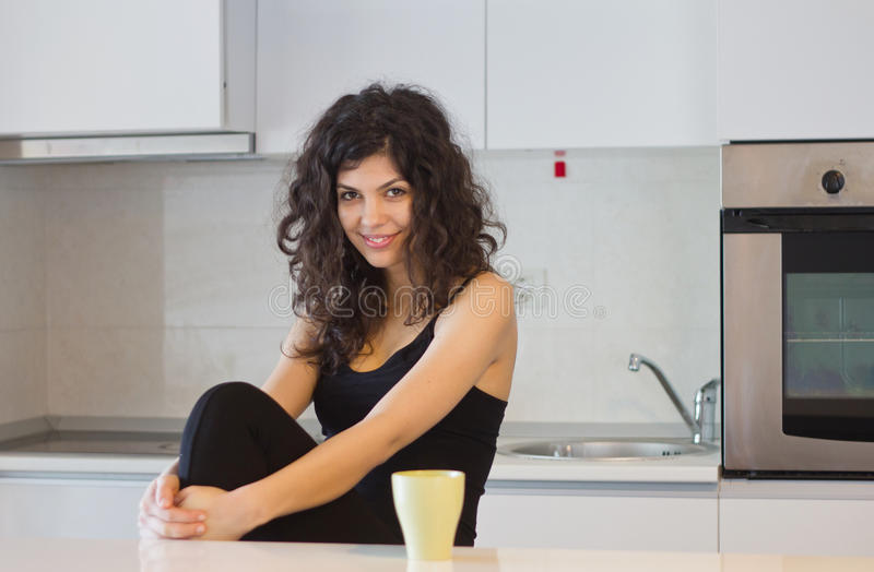 Smiling woman in the morning stock photography