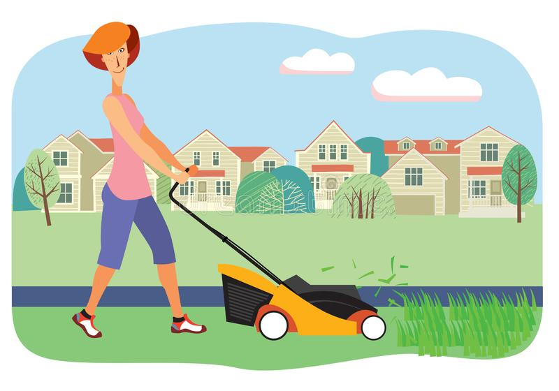 Smiling woman mows grass with a lawn mower on the background of houses. Vector full color graphics stock illustration