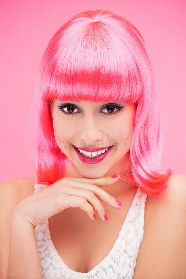 Download Smiling Woman Over Pink Background Stock Photo - Image: 28294870