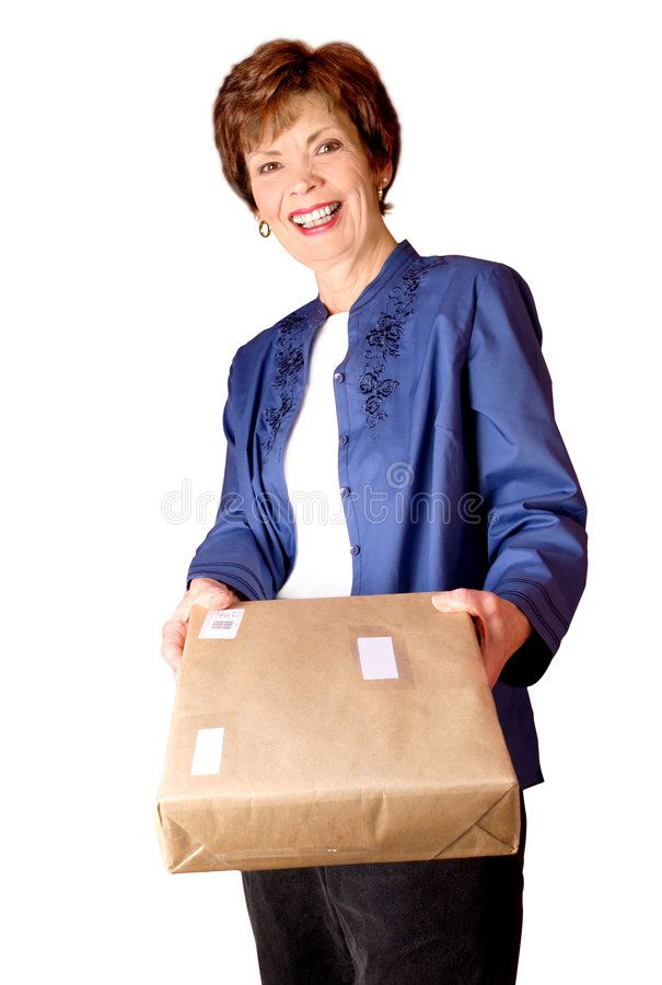 Smiling woman with package stock photography