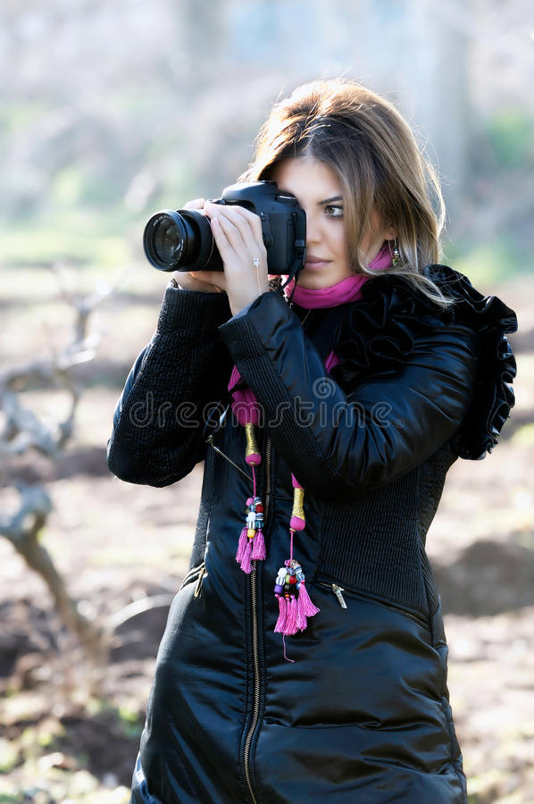Download Smiling Woman And Photo Camera Stock Image - Image of happy, lifestyle: 23875153