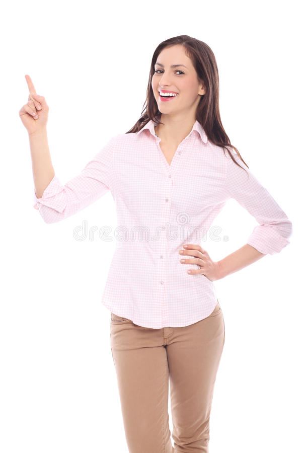 Download Smiling woman pointing up stock photo. Image of gesturing - 28556620
