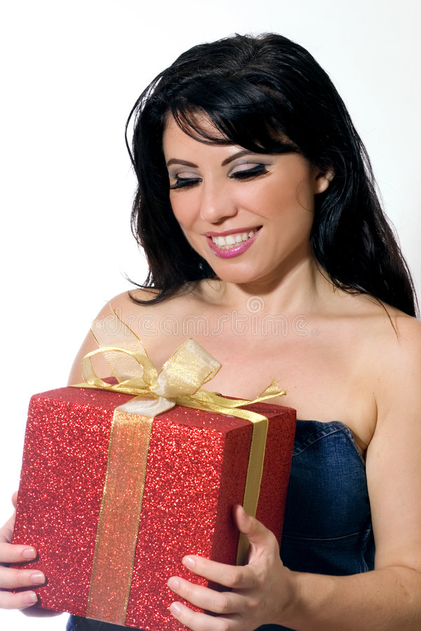 Download Smiling woman with present stock image. Image of smiling - 979601