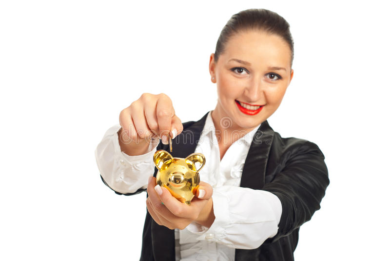 Download Smiling Woman Put Coin In Piggybank Stock Image - Image: 19423353