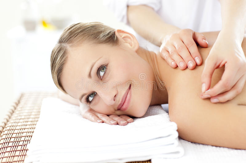 Download Smiling Woman Receiving An Acupuncture Treatment Stock Image - Image: 15519235