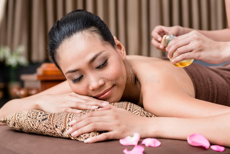 Smiling woman in spa stock image