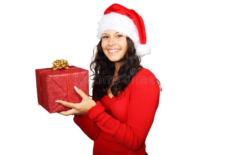 Smiling Woman In Red Long Sleeve Shirt Holding Red Gift Box Free Public Domain Cc0 Image