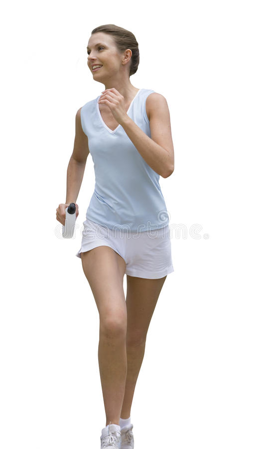 Smiling woman running stock photography