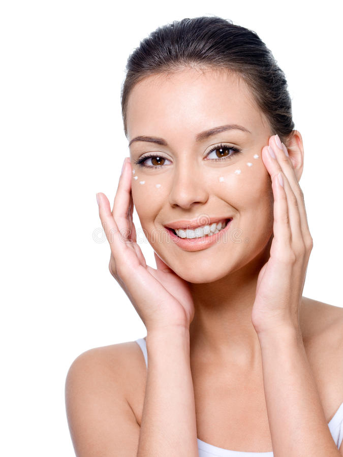 Download Smiling Woman's Face With Cream On It Stock Images - Image: 15239244