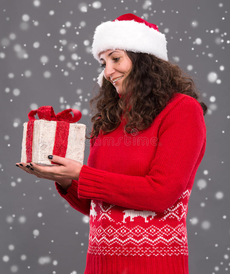Download Smiling Woman In Santa  Hat Stock Photo - Image: 34906700
