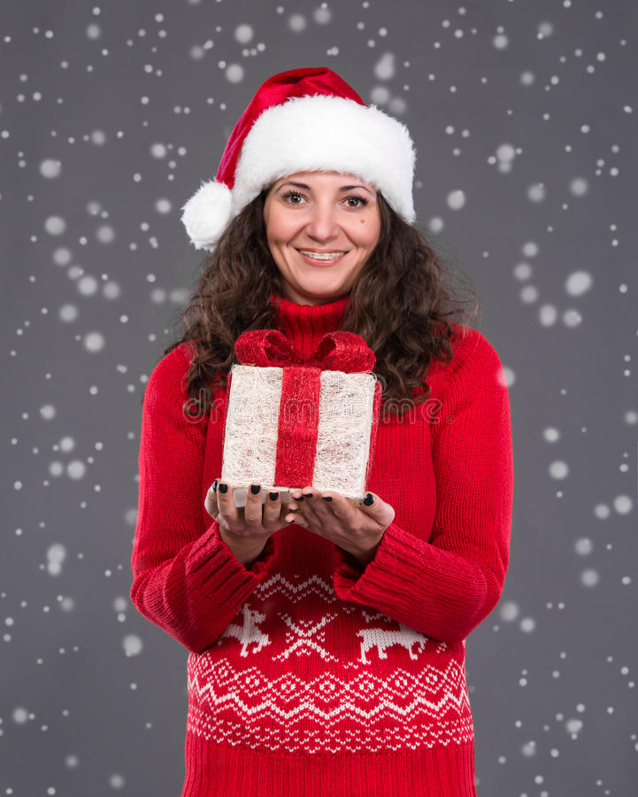 Download Smiling Woman In Santa  Hat Stock Photo - Image: 34906662