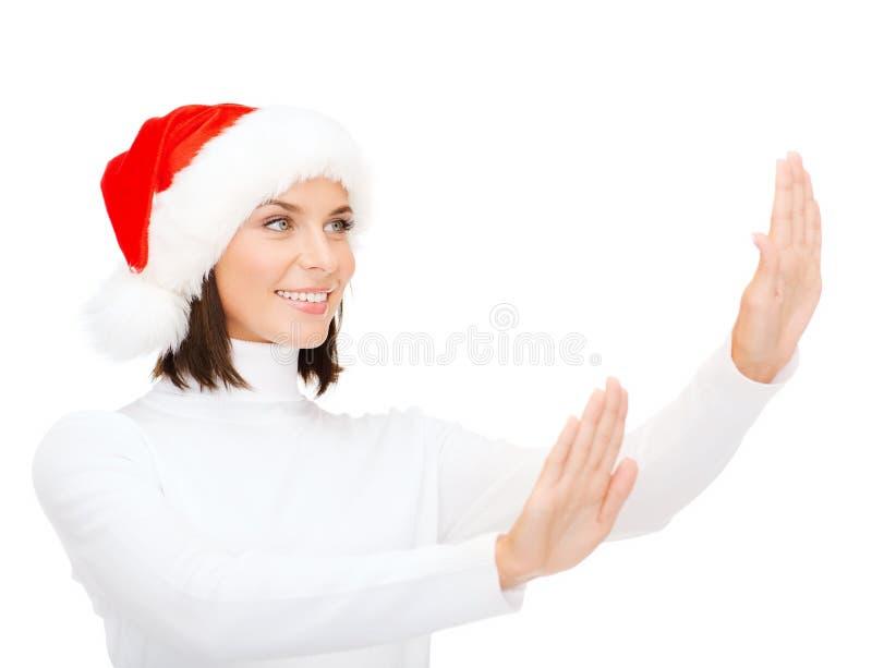 Download Smiling Woman In Santa Helper Hat Stock Image - Image of pressing, manipulating: 34396069