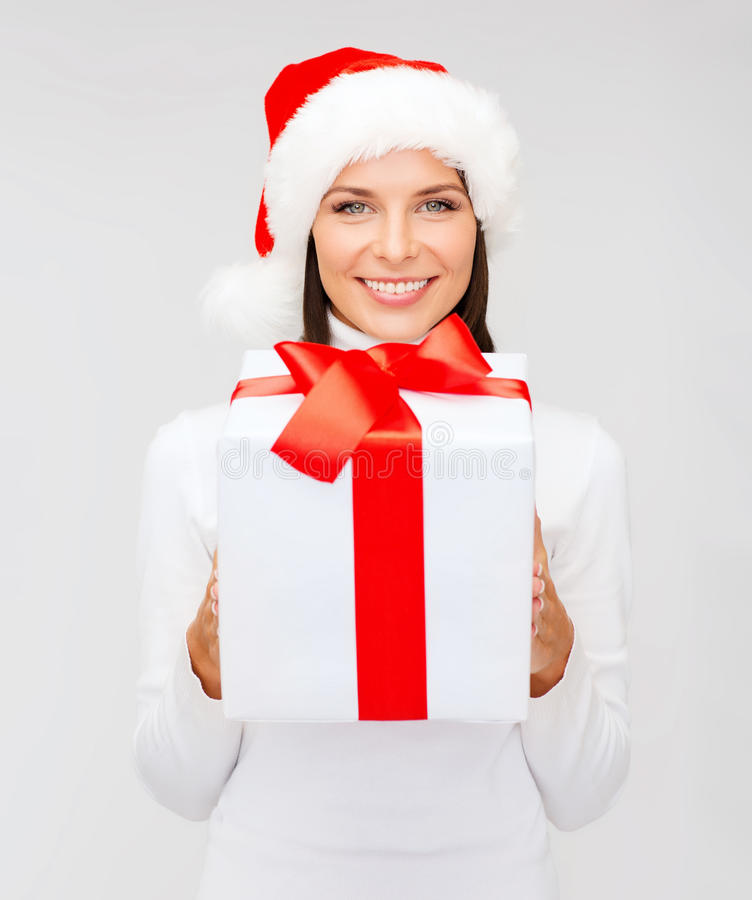 Download Smiling Woman In Santa Helper Hat With Gift Box Stock Image - Image: 34108789