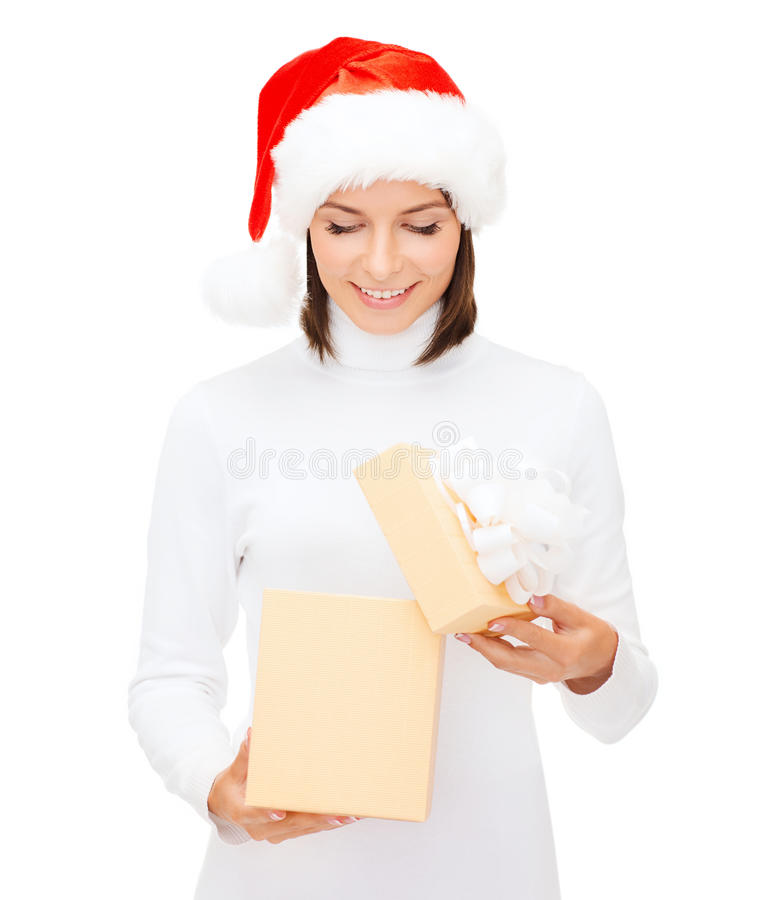 Download Smiling Woman In Santa Helper Hat With Gift Box Stock Photo - Image: 34108828