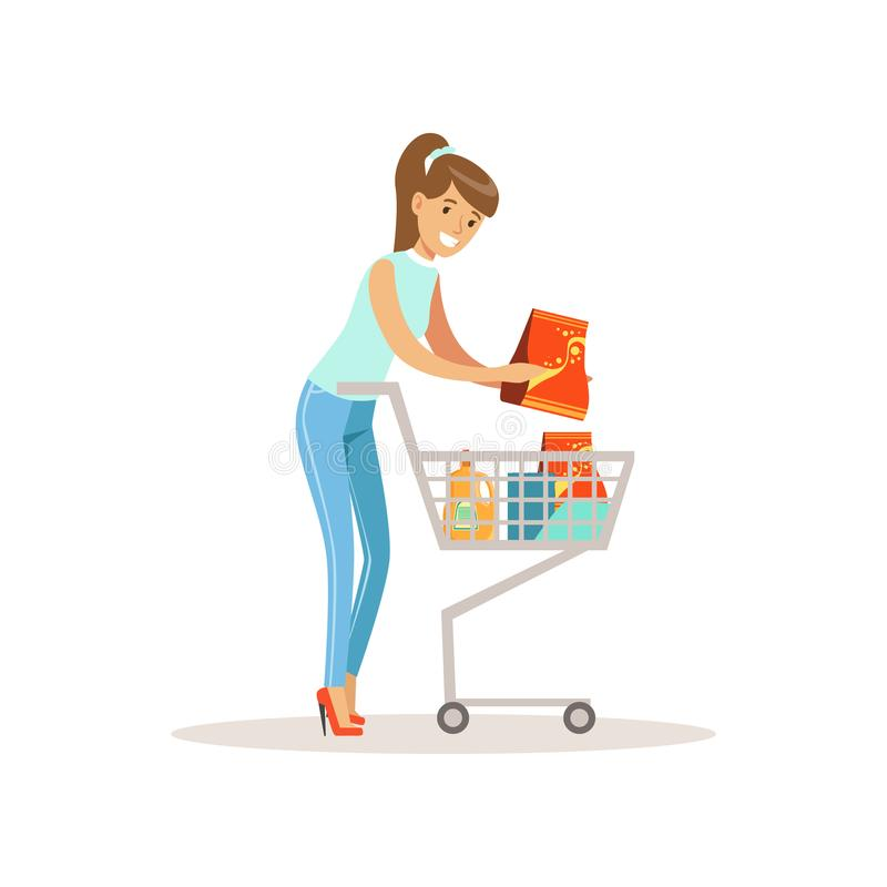 Smiling woman with shopping cart, shopping in grocery store, supermarket or retail shop, colorful character vector vector illustration