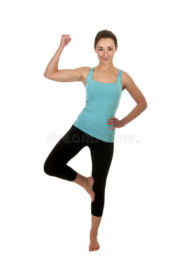 Smiling Woman Shows Muscles Stock Photography