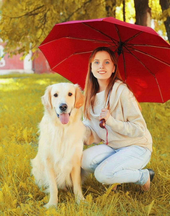 smiling woman sitting with Golden Retriever dog together hiding under umbrella in park royalty free stock image