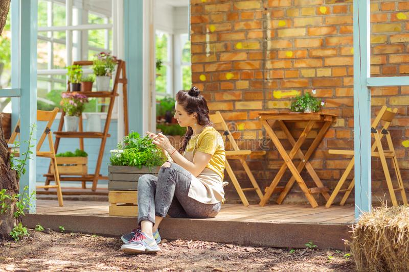 Smiling woman sitting near the planter on a terrace. stock image