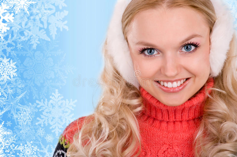 Smiling Woman With Snowflakes Stock Photography