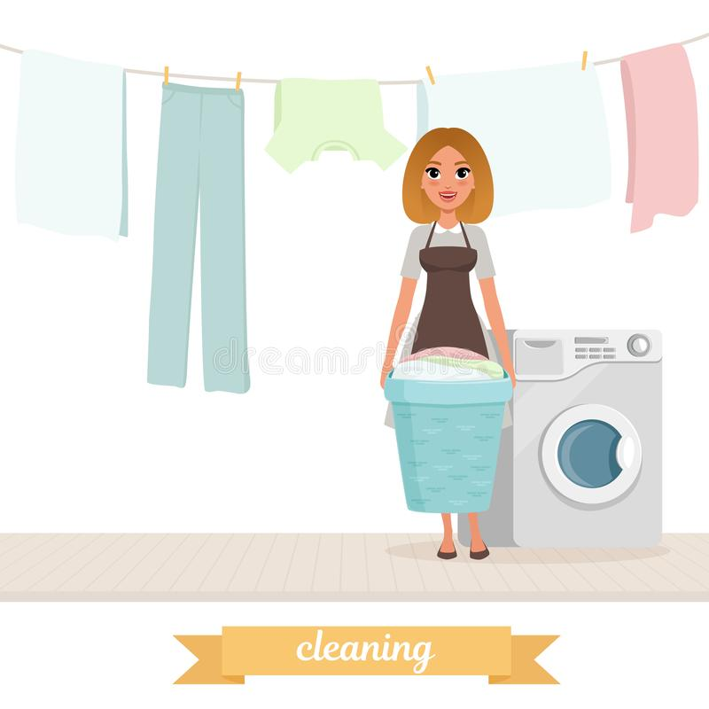 Smiling woman standing near washing machine with laundry basket. Washed clothes drying on rope. Housekeeper. Cartoon royalty free illustration