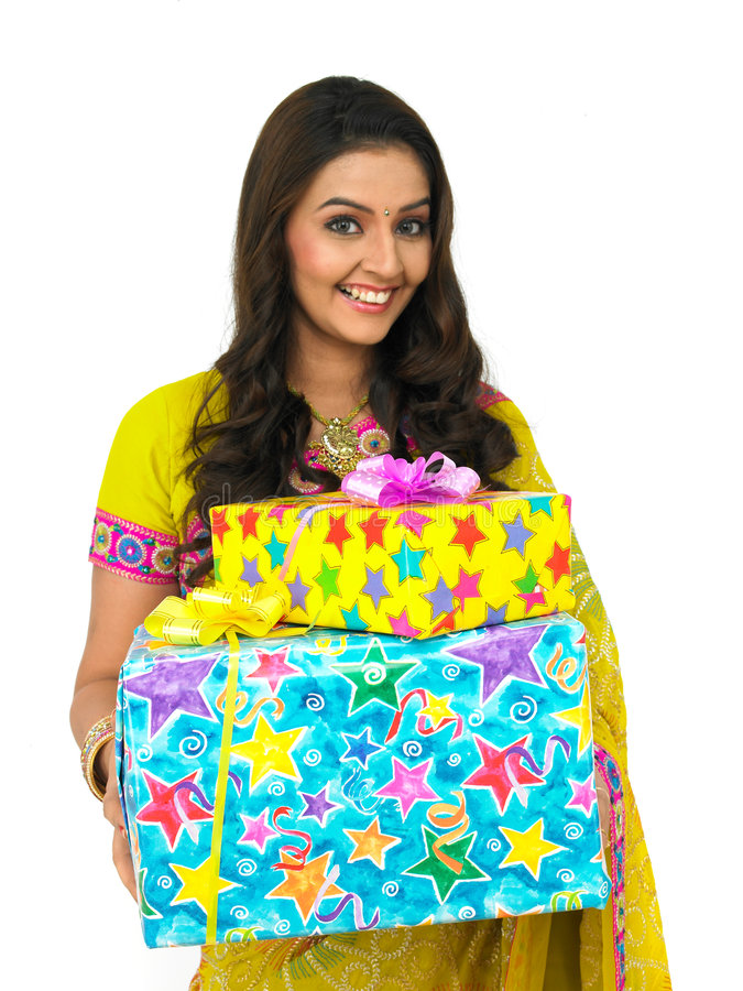 Download Smiling Woman Standing With Two Gift Boxes Stock Photo - Image: 7880240