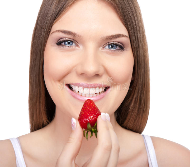 Download Smiling Woman With Strawberry Stock Photo - Image: 20913520