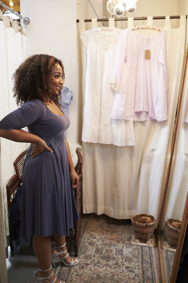 Smiling woman trying on dress in changing room, vertical stock photo